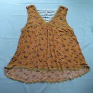 POL Top Babydoll Golden Yellow Floral Lace Up Back